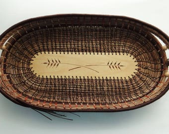 Bread Basket PIne Needle Bread Basket Brown Basket Pine Needle Basket Native American Basket For Him For Her Housewarming Gift Wedding Gift