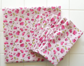 rosebuds hearts tablecloth and set of four napkins pink rose garden tea party birthday party garden