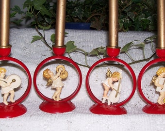 Four German Musical Angel Candle Holders