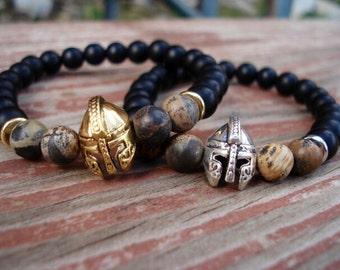Helmet, Black Onyx Bracelet, Gladiator, Black Bead Bracelet, Spartan Warrior, Gift For Men, Gift For Her, Gift For Boyfriend, Charm Bracelet