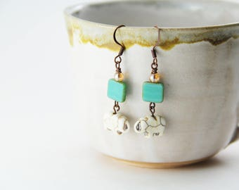 Turquoise Glass and White Elephant Stone Nickel Free Earrings