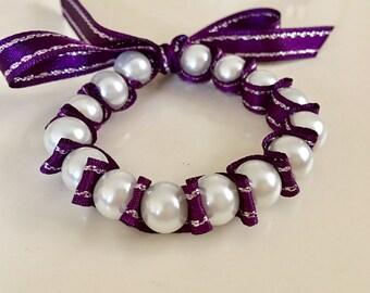 Pearl Ribbon Bow Bracelet, Baby dedication Gift Bracelet, Baptism Bracelet, Baptism gift,Baby girl gift,Christening Gift, Flower Girl