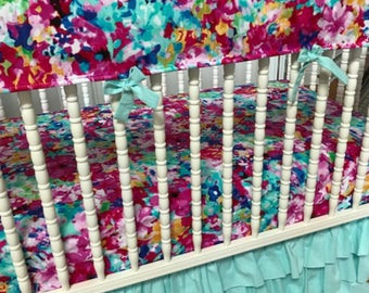 Joy Floral Girl Crib bedding in Pink, Aqua and Yellow: Modern, shower gift,crib skirt girl-