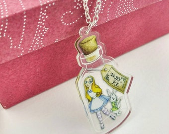 Alice in Wonderland Necklace Drink Me Bottle with White Rabbit Clear Acrylic Pendant Silver or Antique Gold Coloured Chain