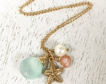 Freshwater Pearl Faceted Moonstone Sea Green Chalcedony 14k Gold Fill Starfish Charm Necklace