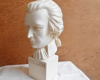 Vintage Mozart Chalk Plaster Sculpture Statue Figurine Famous Musician Bust Piano Player Pianist Bisque Made by ABCO