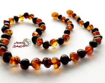 Polished Baltic Amber Teething Necklace - Black Cherry and Cognac Amber Beads - Screw or Safety Clasp - Choose Your Length, K-6