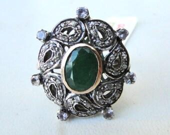 Victorian Diamond Natural Emerald Gold Silver Ring India