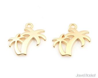 Palm Tree Pendant in Matte Gold / 19.0mm x 19.0mm / BMG336-P (4pcs)