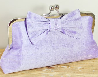 Personalized Silk Dupioni Bow Clutch - Wedding Clutch - Bridesmaid Clutch - Lavender Lilac Purple