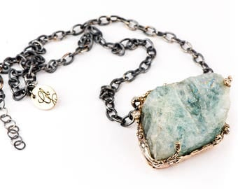 Aquamarine Necklace with oxidized silver chain - Unique Piece Gemstone for men and women