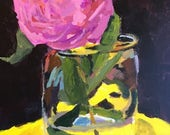 MOVING SALE Art and collectibles, pink flower, peony, flower in vase, modern impressionist, christine parker, 12x9 inch acrylicReservedA