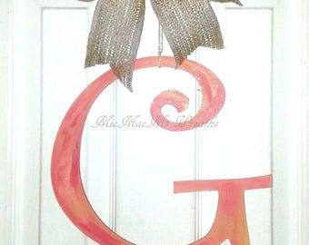 G door hanger, monogram G door hanger, rustic letter G, distressed painted letter, wood letter door hanger