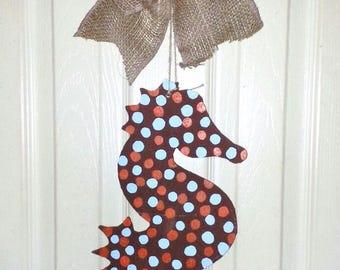 Summer Sale, Seahorse Door hanger, Nautical Door Hanger, beach door decor, sea life decor, painted wood seahorse
