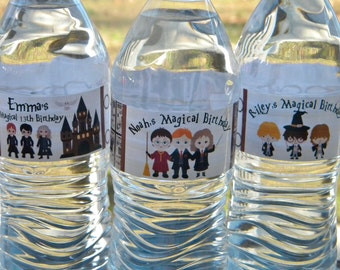 Harry Potter Party Water Bottle Labels - Personalized Harry Potter Water Bottle Labels - Harry Potter Party Favors - Wizard Water Bottles