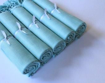 Shawl Set of 5, Blue Pashminas, Wedding Favors, Event Pashminas, Chair Covers, Shawls and Wraps, Keepsakes, Mint Blue Shawls, Warm Shawls