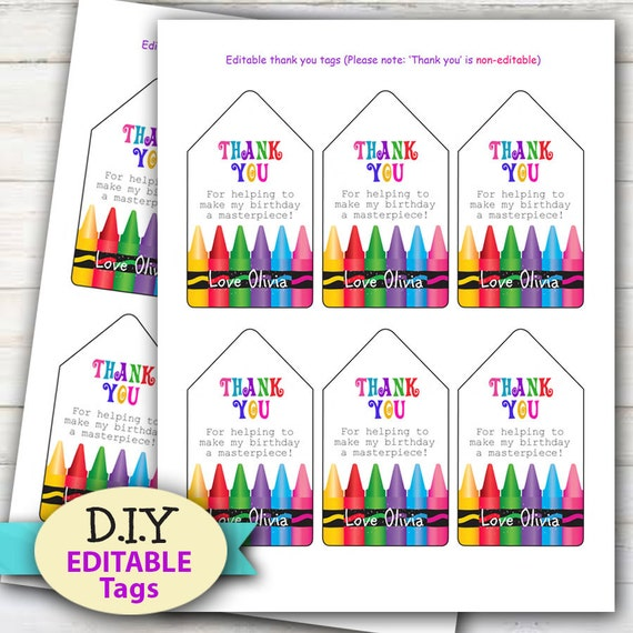 Editable Painting Craft Or Art Party Tags Printable Favor Tags Colorful Crayon Design Edit