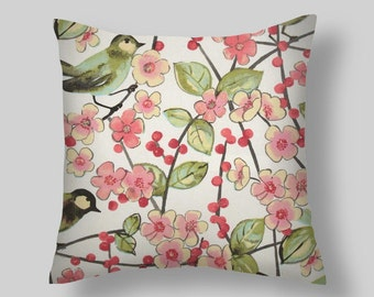 Red Pillow, Pillow Cover , Decorative Pillows, Waverly In the Air Blossom, Accent Pillows , Throw Pillows,