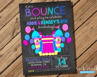 Bounce House Birthday Invitation, Bounce House Party, Jumping Castle, Inflatable Party, Printable Birthday Party Invitation