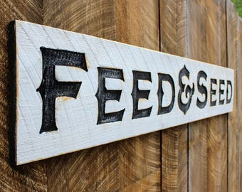 Feed & Seed Carved X-Large Sign- 6 Feet by 1 Foot Modern Farmhouse Vintage Style Advertisement Piece