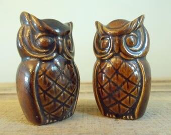 Pair of Brown Glazed Ceramic Owls