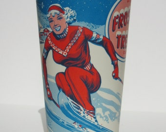 Vintage Frosty Treat Dixie Paper Wax Cup Featuring a Pinup Woman Skiing Great Winter Home or Kitchen Decor Restaurant Soft Drink, Shake Cups