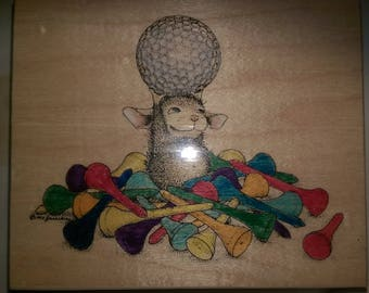 """House Mouse Large WM Rubber Stamp 1997 Stampa Rosa Golf Ball and Tees #77 Retired? 4.5"""" x 3.75"""""""
