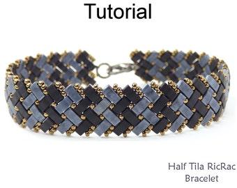 Bracelet Beading Tutorial Pattern - Miyuki Half Tila Beads - Herringbone Stitch - Simple Bead Patterns - Half Tila RicRac Bracelet #24436