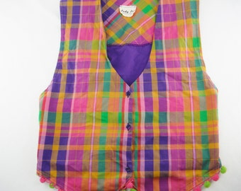 Vintage Lady Pro by Marcia multi color colorful plaid ladies vest size M  made in the USA