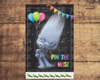 TROLLS PARTY GAME, Pin The Nose, Pin the Tail, Trolls movie Birthday Party 11x17 & 18x24