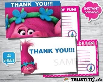 TROLLS THANK YOU cards, super cute thank you cards trolls movie