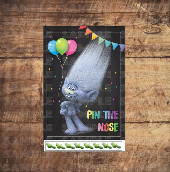 Printable Trolls Pin The Nose Party Game