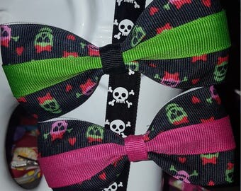 Black Pink and Green Skull Ribbon with Hot Pink or Lime Center Stripe