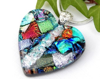 Patchwork Dichroic Glass Heart Pendant, Valentine Gift, Fused Glass Jewelry, Mixed Art Glass Heart Shaped Necklace