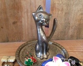 Vintage Silver Plated RING HOLDER ep zinc Cat Kitty Kitten