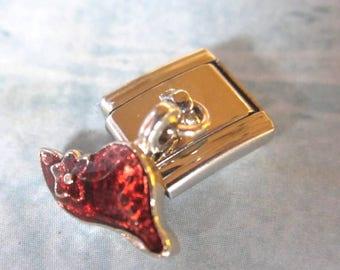 Red Hat  Dangling  9mm Italian Style Nomination Bracelet Charm Stainless Steel Bracelet Making Silver Toned single charm dangler
