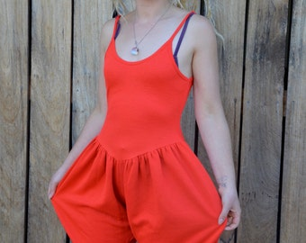 Quirky 80's jersey jumpsuit bright red bubble bum bloomers style one piece circus wear