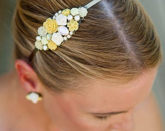 Yellow Bridesmaid Headband, Bridesmaids Headband, Swarovski Collage Headband, Yellow Collage Headband