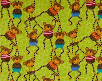 FREE SHIPPING - It's a Jungle in Here flannel fabric - Monkeys green - Henry Glass by the continuous YARD