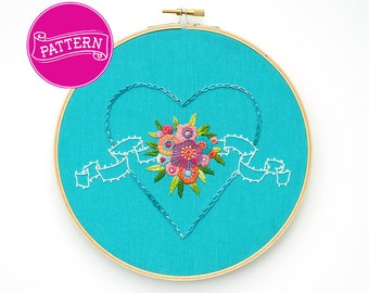 Hand Embroidery Pattern, Heart Embroidery, PDF pattern, Valentine's Embroidery, Floral Pattern, Printable Stitching Pattern, DIY Hoop Art