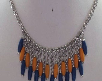 Bib Necklace with Silver Chain and Navy Blue and Mustard Oval Wooden Beads
