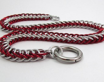 Collar in Red and Silver with Ring Clasp - Handmade Slave Day Collar - Half Persian Chainmaille Animal Kitten Pup Furry Play