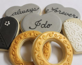 Bride & Groom with Gold Rings Wedding Engagement Anniversary Sugar Cookie favors 1 Dozen (12)