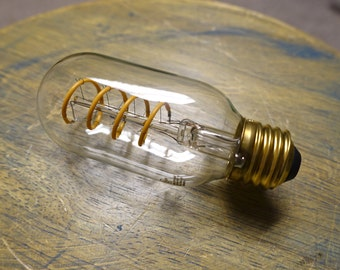LED Edison Bulb - T14, Curved Vintage Style Spiral Filament, 4w/40w equivalent fully dimmable. Most Authentic looking nostalgic LED's!