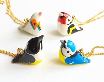 Bluetit bird pendant necklace. Hand painted. Unique jewellery. Cute necklace