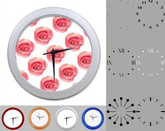 Rose Flower Wall Clock, Abstract Floral Design, Floral Artistiic, Customizable Clock, Round Wall Clock, Your Choice Clock Face or Clock Dial