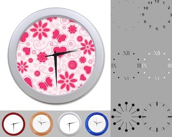 Butterfly Flower Heart Wall Clock, Girlie Design, Kid Design, Customizable Clock, Round Wall Clock, Your Choice Clock Face or Clock Dial