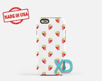 Strawberry Phone Case, Strawberry iPhone Case, Berries iPhone 7 Case, Red, Berries iPhone 8 Case, Strawberry Tough Case, Clear Case, Fruit