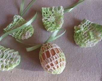 Crochet Easter Egg Cover, Set of 5 Hand Crocheted Easter Eggs Easter Decoration Green