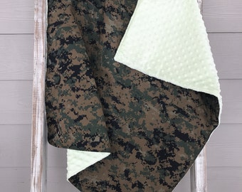 READY To SHIP - USMC Marpat Woodland Military Baby Blanket